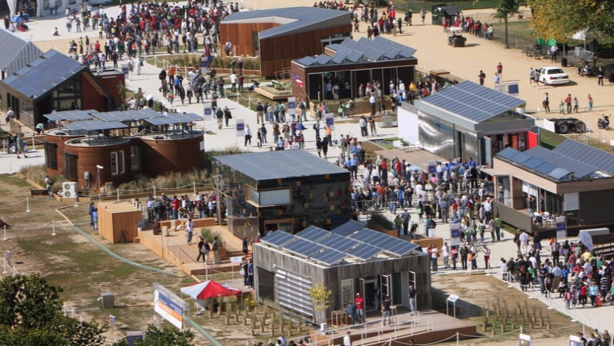 Aerial photo of the Solar Decathlon event in 2015.