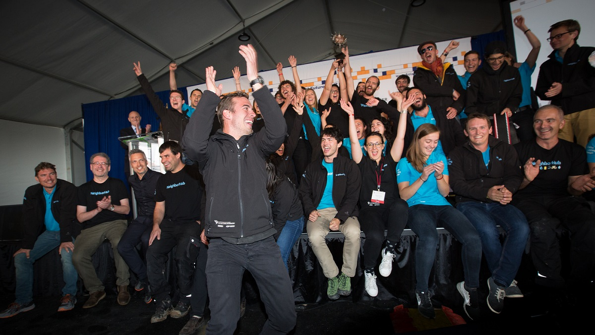 Swiss Team celebrates win of 2017 Solar Decathlon.
