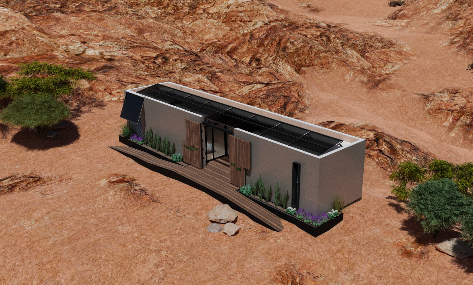 A rendering of the Mojave Bloom house