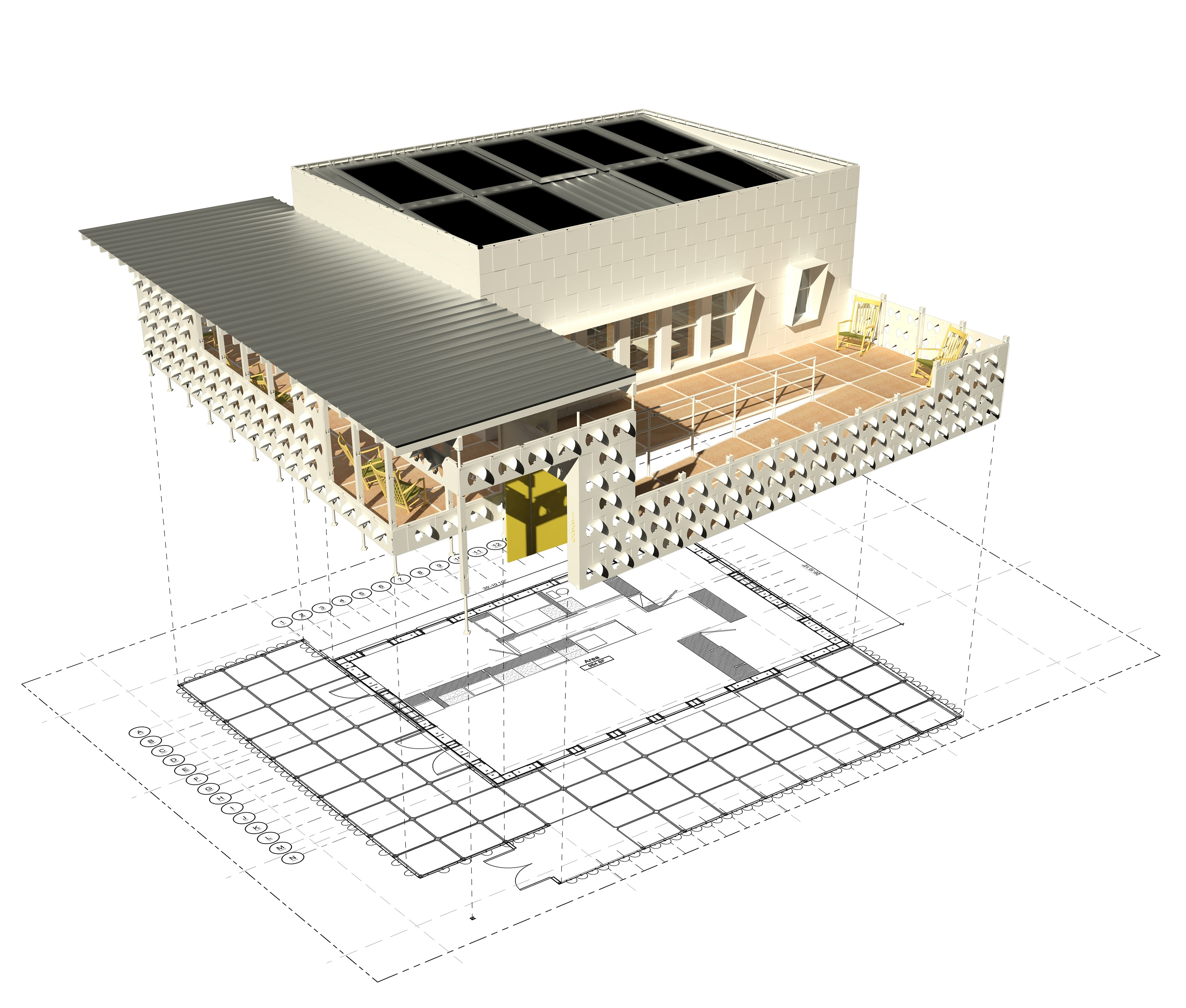 Computer-generated illustration of a modern house hovering above its blueprint floor plans.