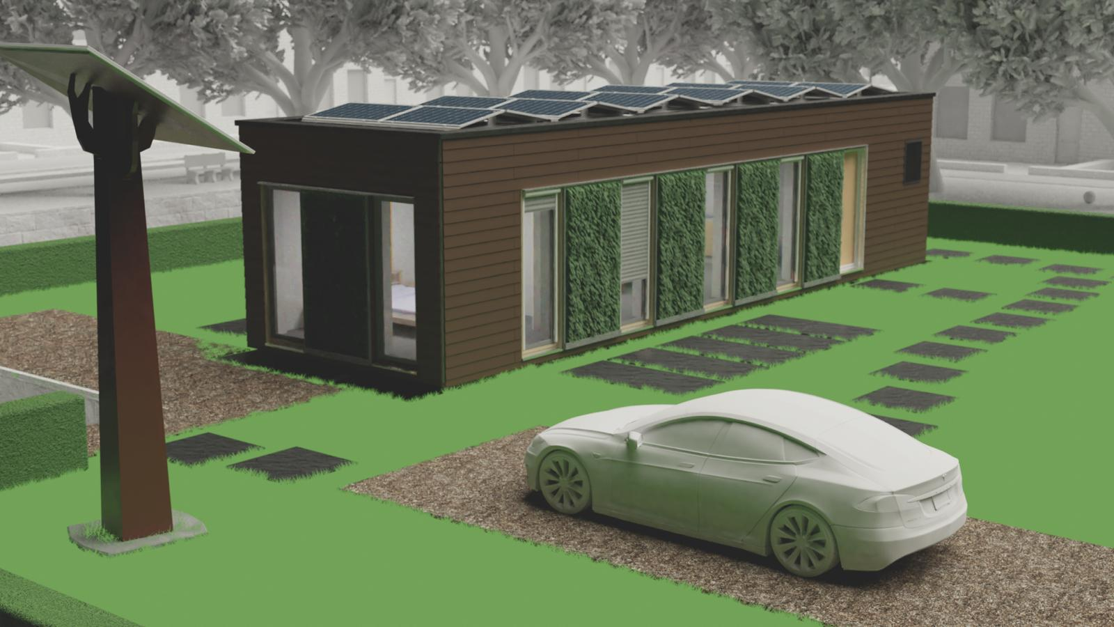 Computer image of a rectangular home that has solar panels on the roof, brown wooden exterior paneling, and floor-to-ceiling windows interspersed with exterior living walls.