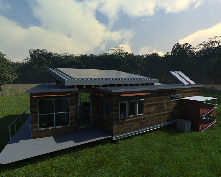 Computer-generated illustration of a solar-powered house.
