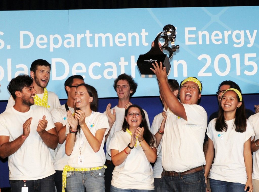 Stevens Institute of Technology team members celebrate their overall 1st place victory at the U.S. Department of Energy Solar Decathlon 2015, October 17, 2015 at the Orange County Great Park, Irvine, California  (Credit: Thomas Kelsey/U.S. Department of Energy Solar Decathlon)