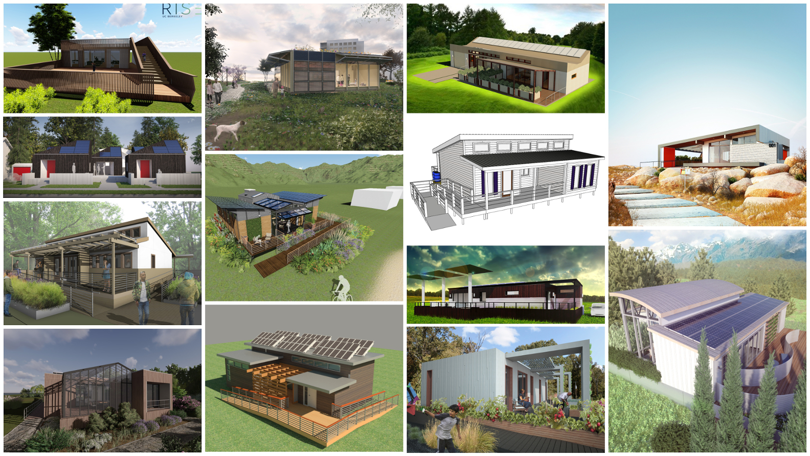 Photo of various renderings of Solar Decathlon 2017 homes.