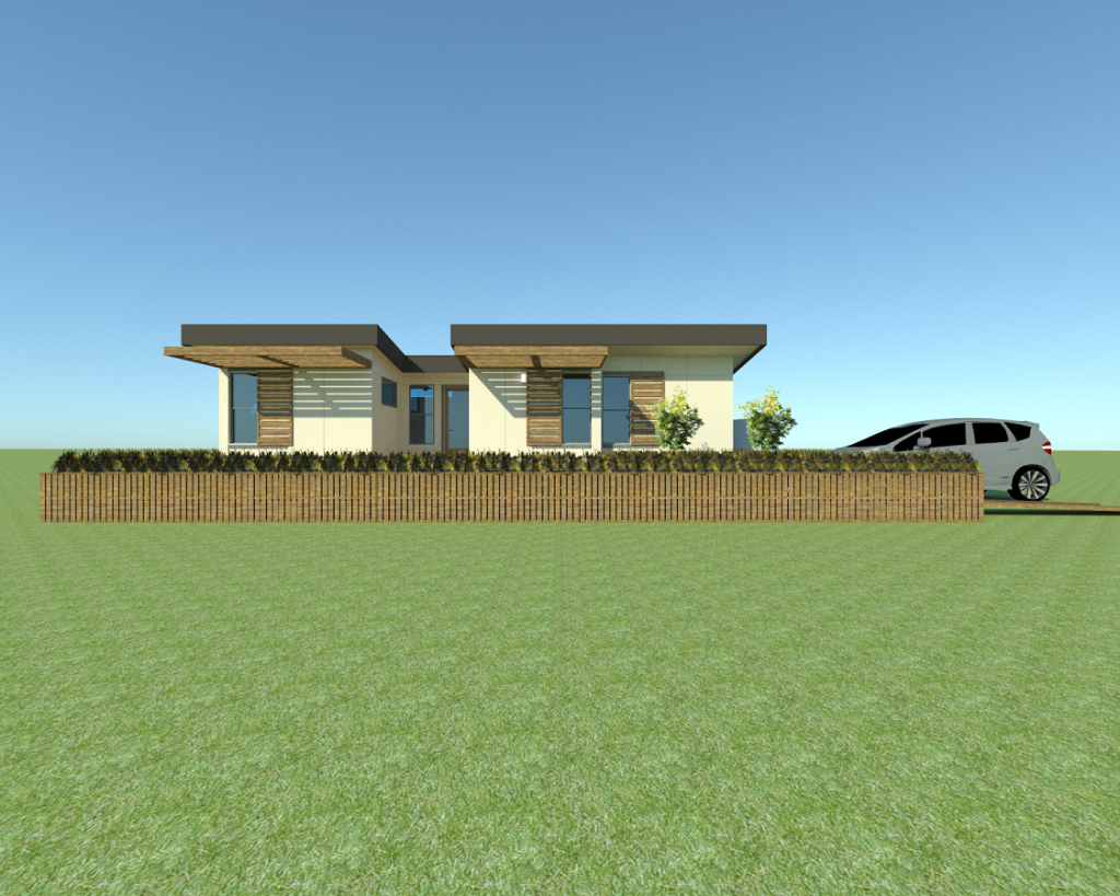 Computer-generated illustration of a modern house.