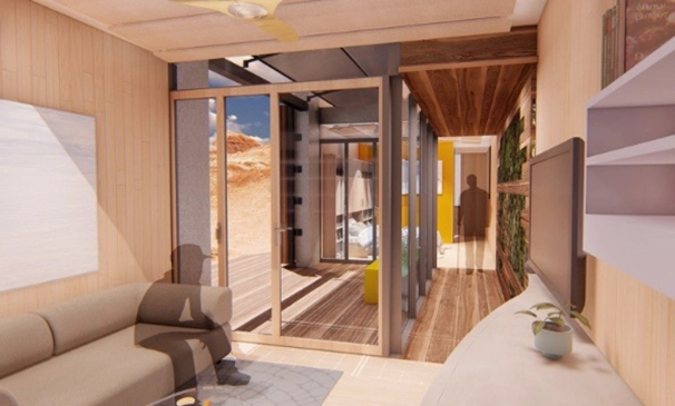 A rendering of the inside of a home's living room