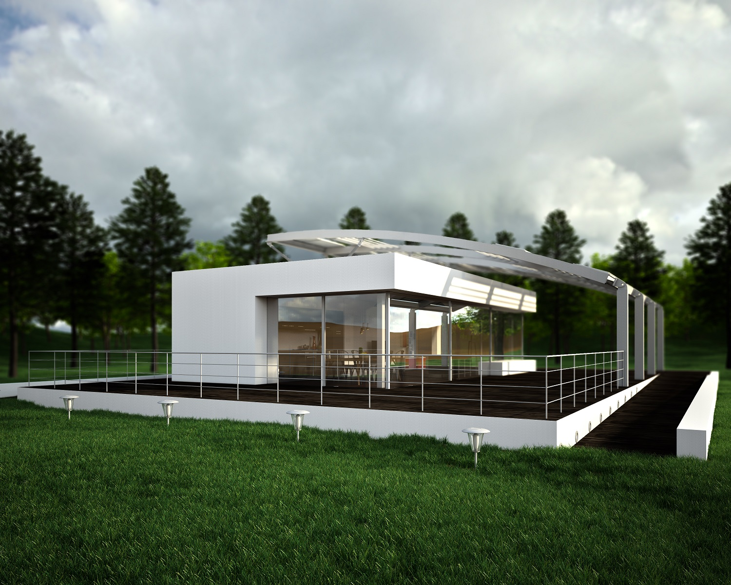 Computer-generated image of a modern-looking house.