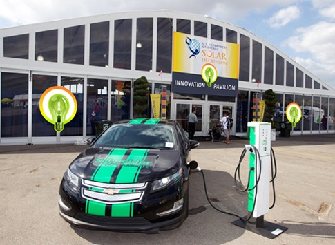 Photo of an electric vehicle plugged into a charging station in front of a large exhibition structure.
