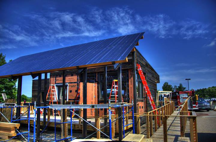 Photo of the Middlebury house under construction.