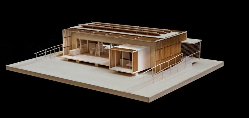 Photo of a scale model of FleX House.