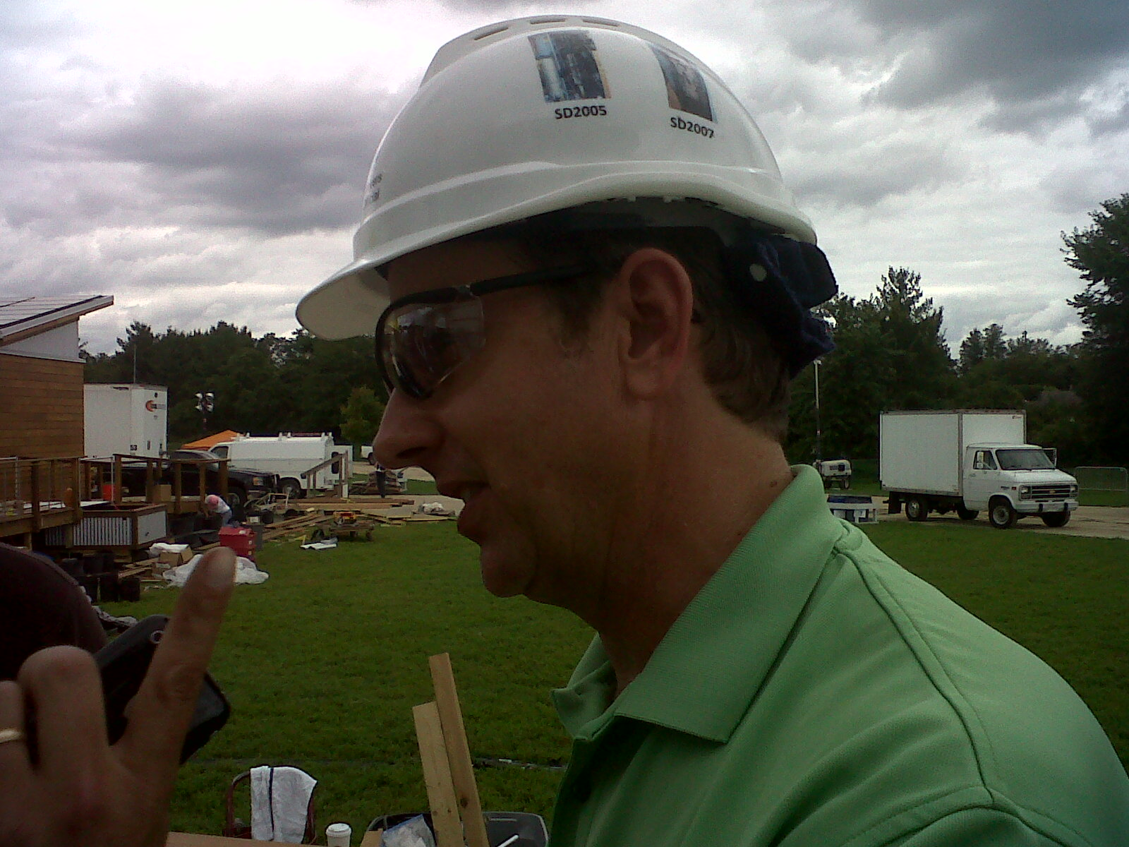 Photo of Tom Meyers on the Solar Decathlon event site during construction.