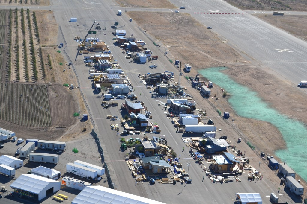 Aerial photo of the Solar Decathlon village under construction.