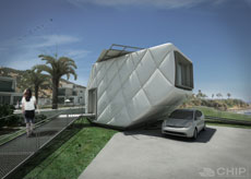 Illustration of CHIP on the California coast. A car is parked on a concrete pad beneath the house's car port.