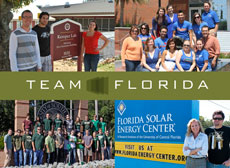 "Collage of four photos. In the top left, three people stand around a sign that reads: ""Kemper Lab. Off-Grid Zero Emission Building. 1035 Atomic Way."" In the top right is a group of people dressed in Florida Gators t-shirts. In the bottom right, two people stand next to a sign that reads: ""Florida Solar Energy Center. A Research Institute of the University of Central Florida."" In the bottom left is a group of people in green shirts standing in front of a sign that reads: ""University of South Florida."" In the middle is a banner that says Team Florida."