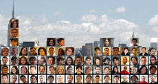 Collage of headshots of the members of Team New York superimposed on a photo of New York City.